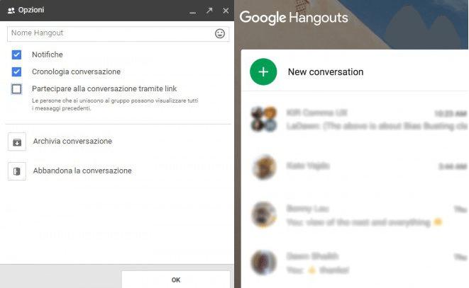 Hangouts e le conversazioni di gruppo/con nome